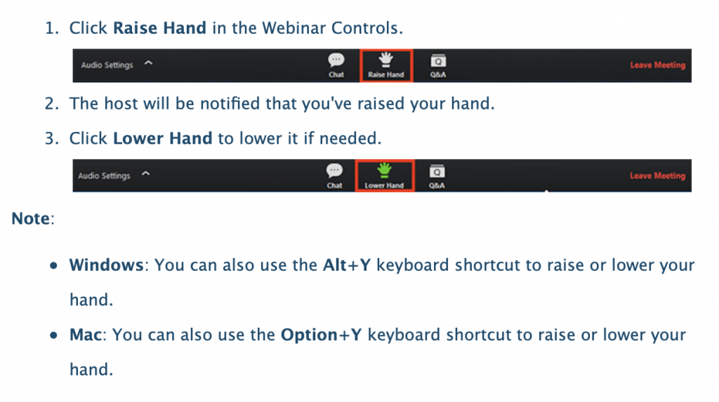 screenshot of how to raise your hand during Zoom conferences